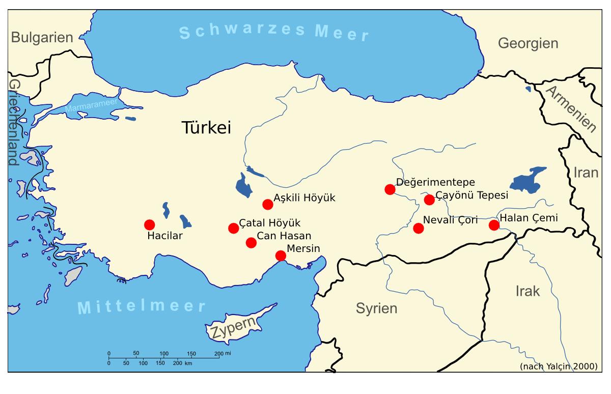 Siedlungen mit früher Metallverarbeitung in Anatolien. Alle Fundplätze sind älter als 5000 Jahre vor unserer Zeitrechnung. Daten übernommen aus Yalçin 2000.