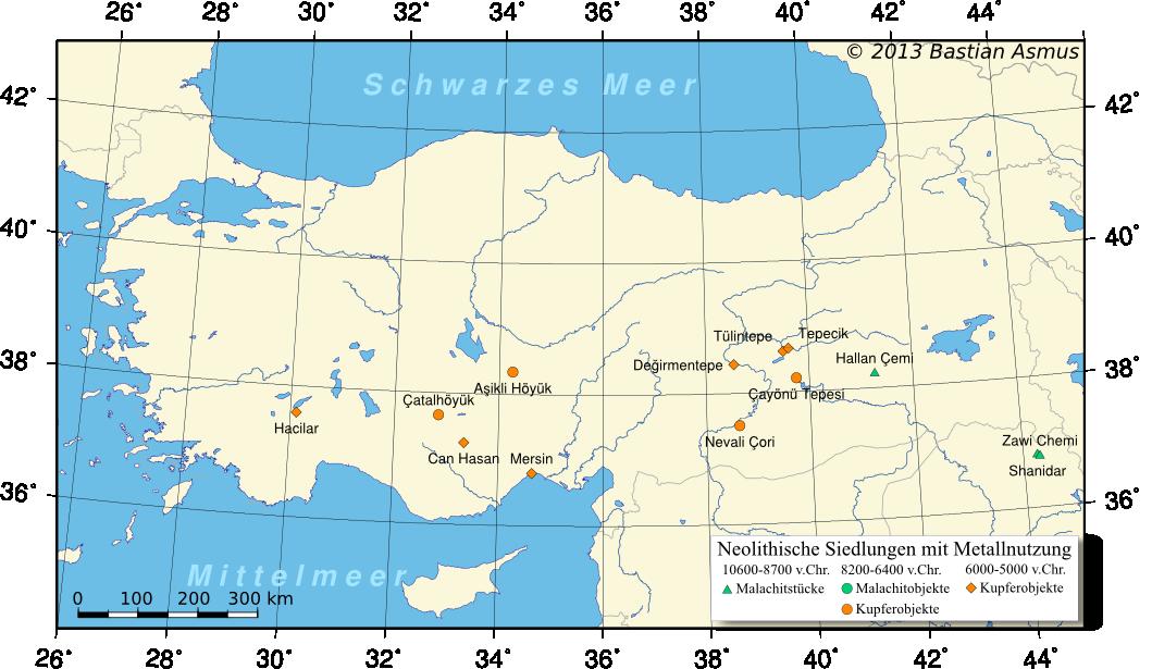 Karte mit Fundplätzen mit dem ältesten Kupfer der Welt.