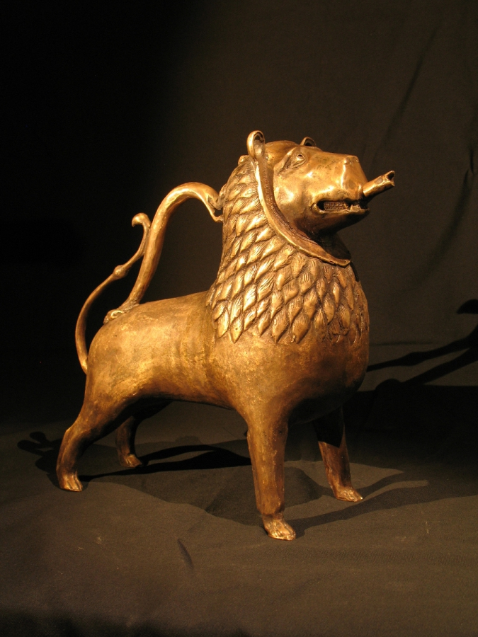 Medieval bronze aquamanile in the form of a lion