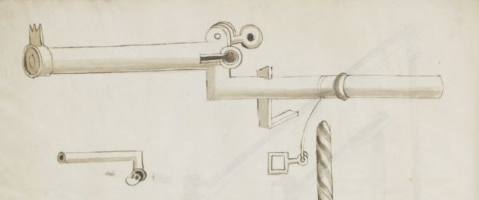 Image of a breech loaded handgonne in the Weimarer Ingenieurs- und Wunderbuch form 1520. Clearly a copy of hte design made in the Kriegsbuch by Eyb